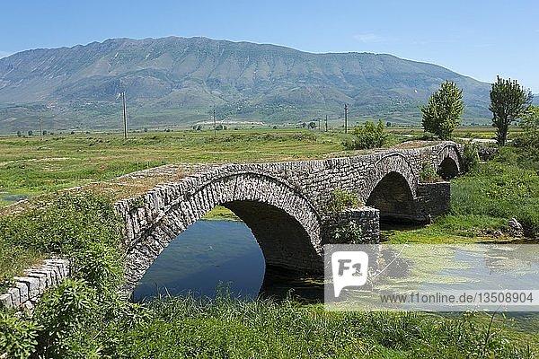 Alte venezianische Brücke bei Grapsh  SH4  Albanien  Europa