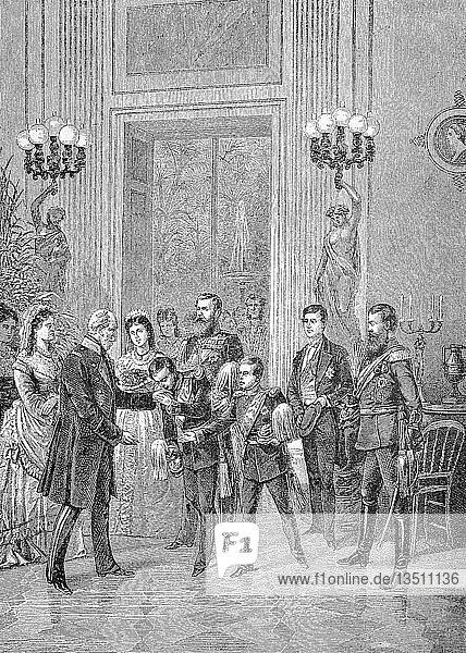 Wilhelm I. oder Wilhelm I.  voller Name ist William Frederick Louis von Hohenzollern  König von Preußen und der erste deutsche Kaiser  gratulierte die Familie ihm am 22. März 1875 an seinem 78. Geburtstag  Reproduktion einer Holzschnitt-Publikation aus dem Jahr 1888  Deutschland  Europa