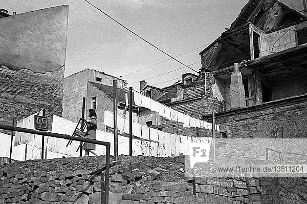 Wäsche trockenen zwischen den Ruinen  1948  Leipzig  Sachsen  DDR  Deutschland  Europa