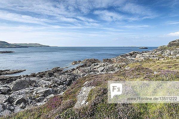 Felsige Küstenlandschaft in der Clashnessie Bay am Atlantik  Grafschaft Sutherland  Schottland  Großbritannien  Europa