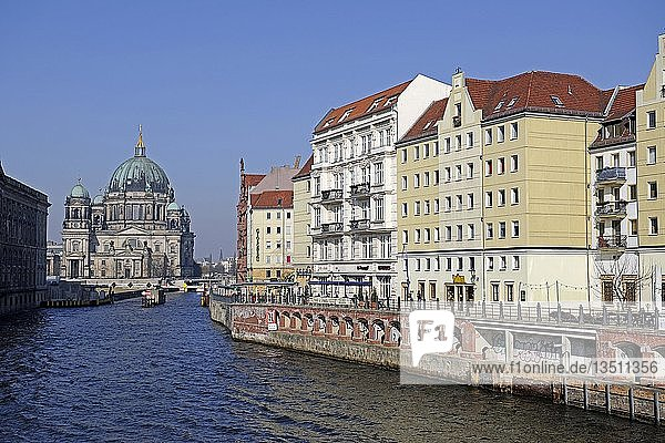 Nikolaiviertel quarter on the Spree river  behind the Berlin Cathedral  Berlin  Germany  Europe