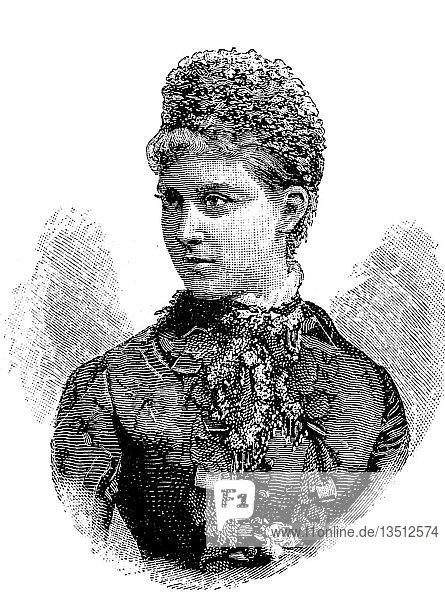 Prinzessin Charlotte von Preußen  Victoria Elisabeth Augusta Charlotte von Preußen  1860-1919  älteste Tochter des späteren deutschen Kaisers Friedrich III. von Preußen und Herzogin von Sachsen-Meiningen  Portrait  Holzschnitt  1888  Deutschland  Europa