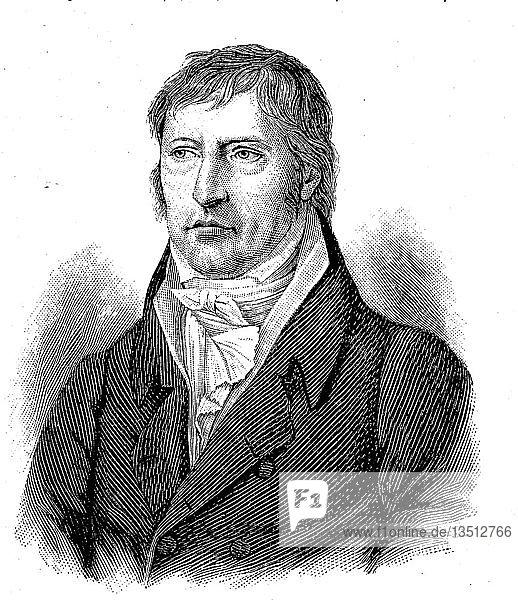 Portrait von Georg Wilhelm Friedrich Hegel  27. August 1770  14. November 1831  Philosoph  Holzschnitt  Deutschland  Europa