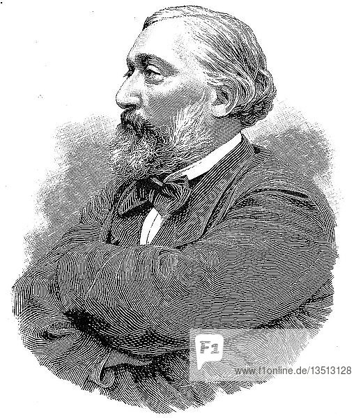 Leon Gambetta  2. April 1838  31. Dezember 1882  französischer Staatsmann  Holzschnitt  Frankreich  Europa