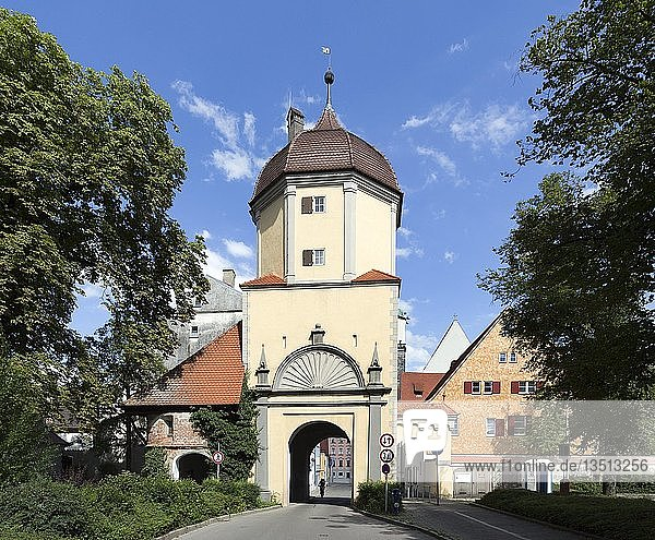 Westertor  eines von mehreren erhaltenen Stadttoren der mittelalterlichen Stadtbefestigung  Memmingen  Schwaben  Bayern  Deutschland  Europa