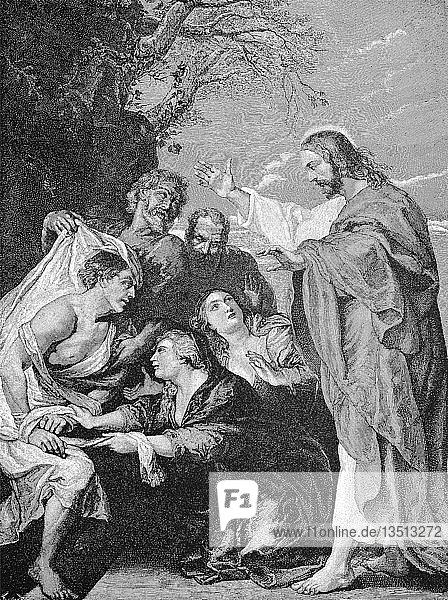 Jesus Christus,  die Auferweckung des Lazarus,  Gemälde von Peter Paul Rubens,  28. Juni 1577,  30. Mai 1640,  Holzschnitt aus dem Jahr 1888,  Deutschland,  Europa
