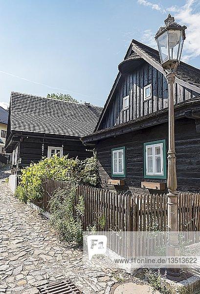 Traditionelle Fachwerkhäuser in Stramberk  Tschechien  Europa