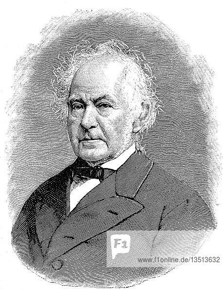 Heinrich Leberecht Fleischer  21. Februar 1801  10. Februar 1888  war ein deutscher Orientalist  Holzschnitt aus dem Jahr 1888  Deutschland  Europa