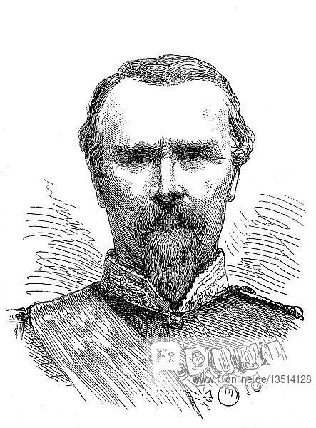 Pierre Louis Charles Achille de Failly  21. Januar 1810  15. November 1892  französischer General  Holzschnitt  Portrait  Frankreich  Europa