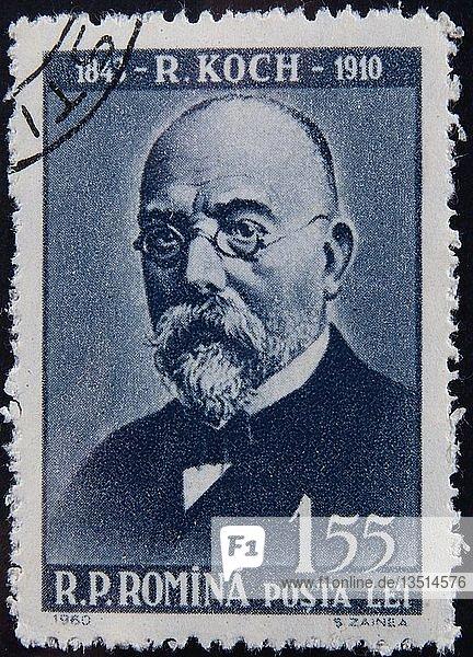 Robert Koch  ein deutscher Arzt  Portrait auf einer rumänischen Briefmarke  Schweden  Europa