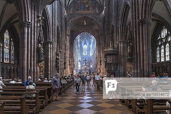 Innenraum des Freiburger Münster  Freiburg im Breisgau  Schwarzwald  Baden-Württemberg  Deutschland  Europa