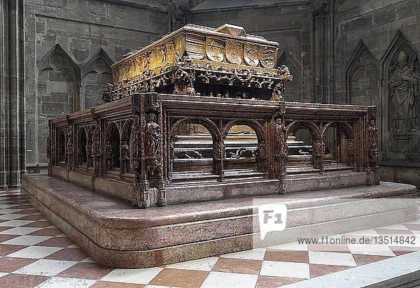 Hochgrab von Kaiser Friedrich III.  Stephansdom  Domkirche St. Stephan  Wien  Österreich  Europa