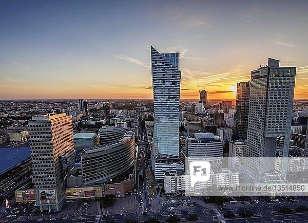 Warsaw City Center Skyscrapers at sunset  Masovian Voivodeship  Poland  Europe
