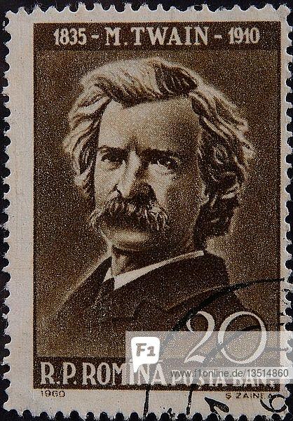 Mark Twain oder Samuel Langhorne Clemens  ein amerikanischer Schriftsteller  Porträt auf einer rumänischen Briefmarke  Rumänien  Europa
