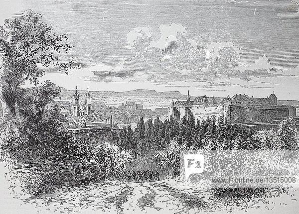 Blick auf die Festung Sedan  Frankreich  Deutsch-Französischer Krieg 1870/1871  Holzschnitt  Frankreich  Europa