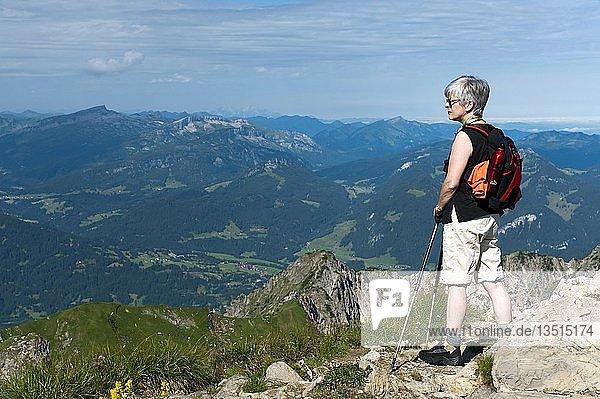 Frau steht auf dem Gipfel vom Nebelhorn  Oberstdorf  Bayern  Deutschland  Europa