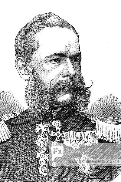 Georg Friedrich Alfred Graf von Fabrice  23. Mai 1818  25. März 1891  sächsischer Feldherr der Kavallerie  deutsch-französischer Feldzug von 1870  Holzschnitt aus dem 19. Jahrhundert  Deutschland  Europa