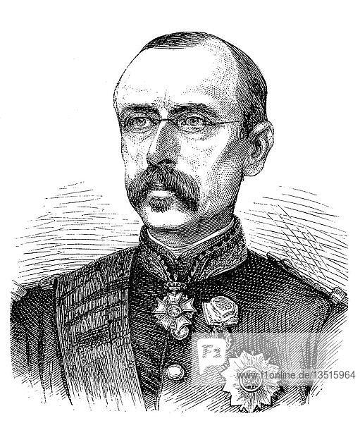 Louis Leon Cesar Faidherbe  3. Juni 1818  29. September 1889  französischer General und Kolonialverwalter  Holzschnitt 1880  Frankreich  Europa