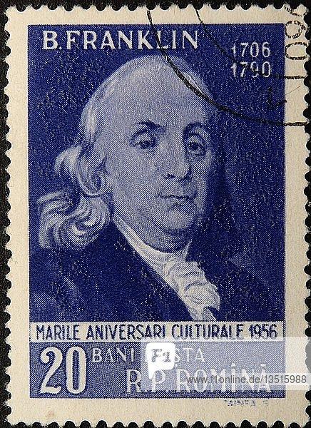 Benjamin Franklin  ein nordamerikanischer Drucker  Verleger  Schriftsteller  Wissenschaftler  Erfinder und Staatsmann  Porträt auf einer rumänischen Briefmarke  Schweden  Europa