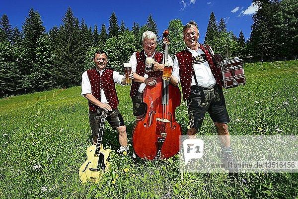 Drei Volksmusiker mit Instrumenten und Bier  Bergfexn-Trio in Tracht auf der Eggenalm  hinten Wilder Kaiser  Reit im Winkl  Bayern  Deutschland  Europa