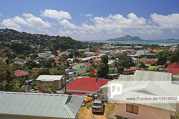 View over the capital Victoria  Mahe  Seychelles  Africa