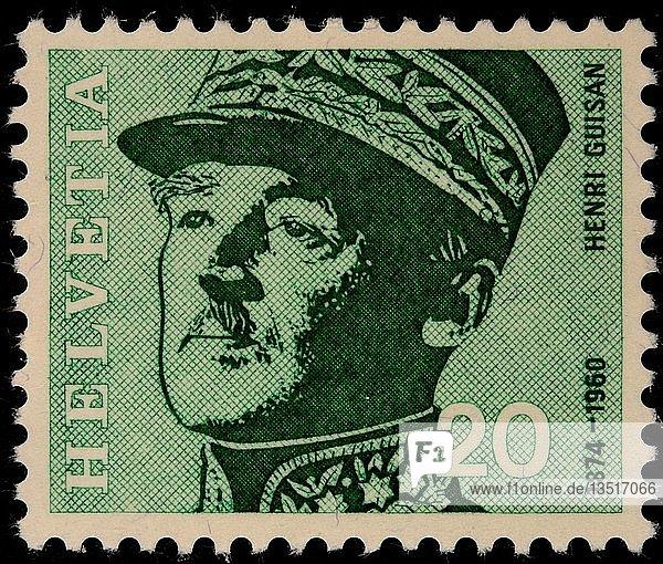 Henri Guisan  ein Schweizer Militärführer und Nationalheld  Porträt auf einer Schweizer Briefmarke  Schweiz  Europa