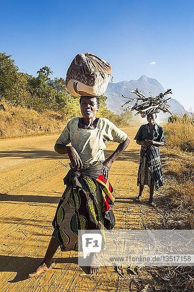 Einheimische Frauen tragen ihre Waren auf dem Kopf vor dem Berg Mulanje  Malawi  Afrika