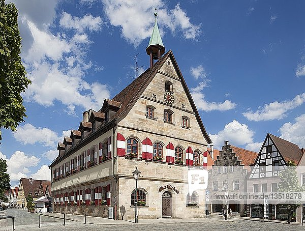 Altes Rathaus am Marktplatz  Lauf an der Pegnitz  Mittelfranken  Franken  Bayern  Deutschland  Europa