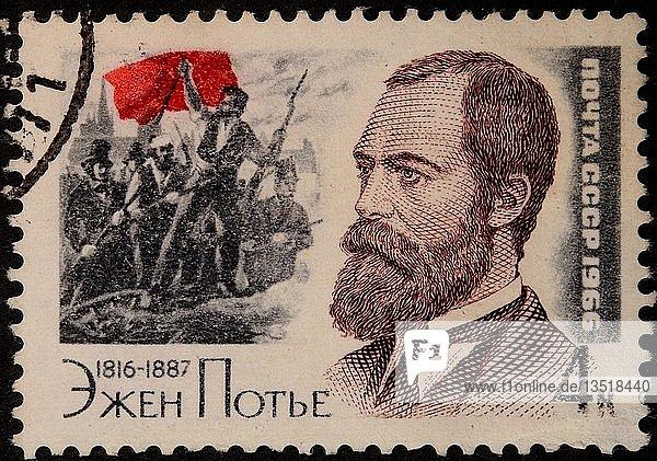 Eugène Edine Pottier  ein französischer Revolutionär  Anarchist  Sozialist und Dichter  Porträt auf einer russischen Briefmarke  Russland  Europa