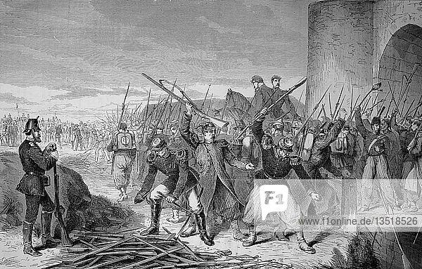 Abzug der Straßburger Besatzung aus der Festung nach der Kapitulation am 28. September  Deutsch-Französischer Krieg 1870/71  Holzschnitt  Frankreich  Europa