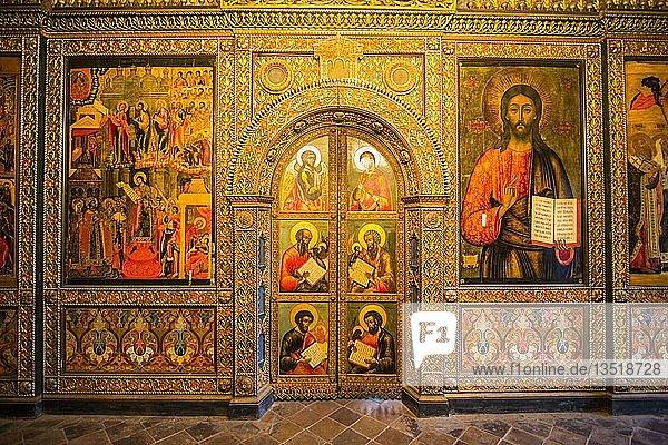 Wandbilder in der Kirche von Elijah dem Propheten im UNESCO-Welterbe Jaroslawl  Goldener Ring  Russland  Europa
