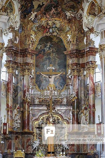 Altar  Wallfahrtskirche Maria Steinbach  bei Legau  Unterallgäu  Allgäu  Schwaben  Bayern  Deutschland  Europa