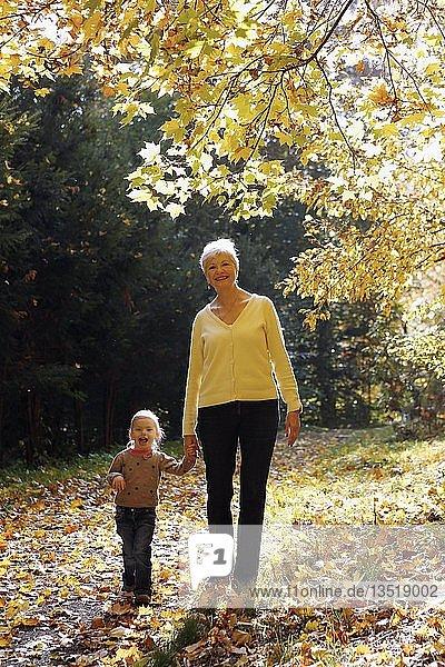 Großmutter mit ihrer Enkelin beim Spaziergang in Herbstwald  Tschechien  Europa