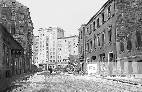 Baustelle  1956  Ringbebauung Roßplatz  Rückseite  Leipzig  Sachsen  DDR  Deutschland  Europa