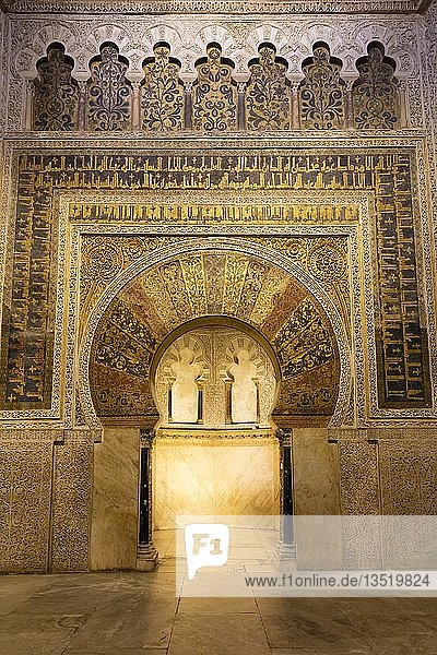 Mihrab  islamische Gebetsnische  Kathedrale  Mezquita  Córdoba  Andalusien  Spanien  Europa
