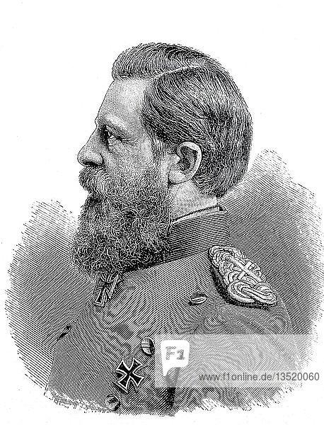 Friedrich III  18. Oktober 1831  15. Juni 1888  war deutscher Kaiser und König von Preußen  1880  Holzschnitt  Deutschland  Europa