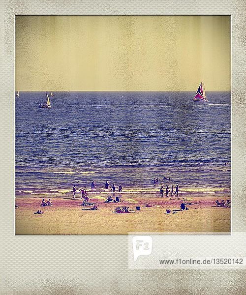 Polaroid effect of beach and Mediterranean Sea  France  Europe