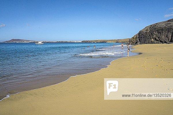 Playa de la Cera  einer von sechs Papagayo-Stränden am Punta Papagayo  Playa Blanca  Lanzarote  Kanarische Inseln  Spanien  Europa