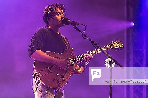 The German German Folktronica duo Milky Chance  consisting of Clemens Rehbein  vocals and guitar and Philipp Dausch live at the Blue Balls Festival Lucerne  Switzerland  Europe