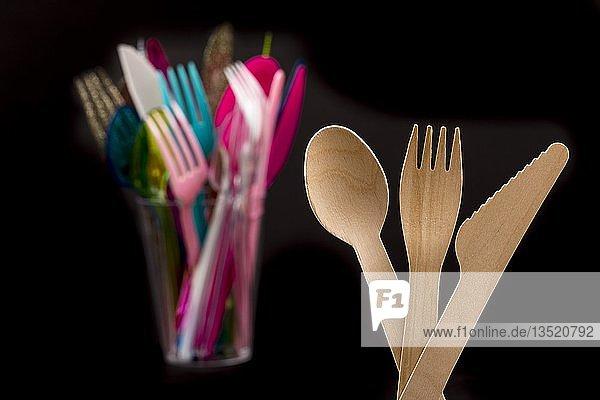 Einwegbesteck aus Holz  wiederverwertbar  Kunststoffbesteck  Einwegbesteck  Messer  Gabeln  Löffel  Kunststoffabfälle  verschiedene Farben  Typen