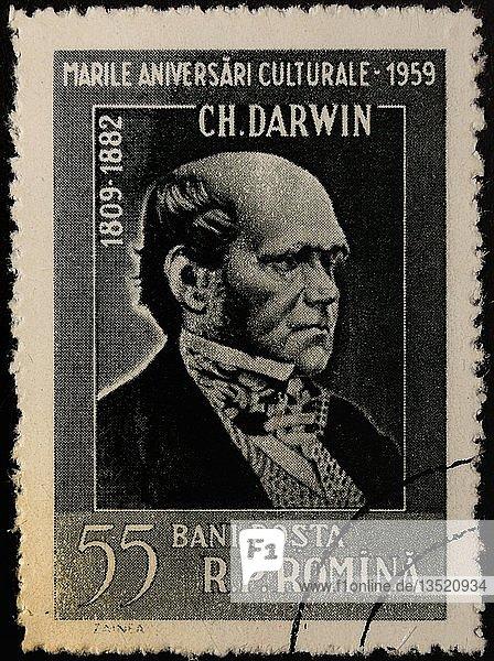 Charles Darwin  ein englischer Naturforscher  Geologe und Biologe  Porträt auf einer rumänischen Briefmarke  Rumänien  Europa
