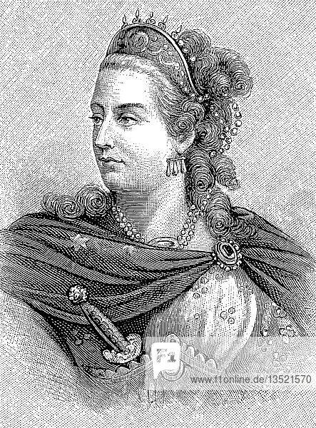 Bildnis von La Clairon  25. Januar 1723  29. Januar 1803  französische Schauspielerin  eigentlich Clair Josephe Hippolyte Leris  Holzschnitt aus dem Jahr 1888  Deutschland  Europa