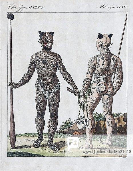 Nukahiwer mit verschiedenen Tätowierungen  handkolorierter Kupferstich aus Friedrich Justin Bertuch Bilderbuch für Kinder  1813  Weimar  Deutschland  Europa