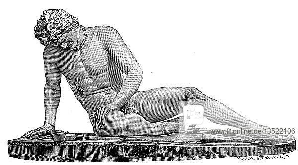 Ein sterbender Gallier  Marmorstatue aus dem 3. Jahrhundert v. Chr. im Kapitolinischen Museum in Rom  1880  Holzschnitt  Italien  Europa