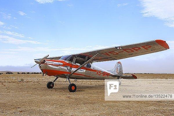 Cessna 170  Flugfeld Ganab  Namib-Naukluft-Nationalpark  nördlicher Teil  Region Erongo  Namibia  Afrika