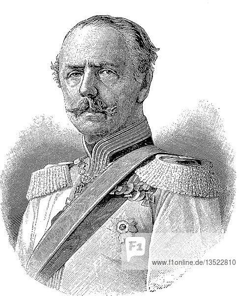 Karl Alexander August Johann  Großherzog von Sachsen-Weimar-Eisenach  24. Juni 1818  5. Januar 1901  war der Herrscher von Sachsen-Weimar-Eisenach  Holzschnitt  Deutschland.