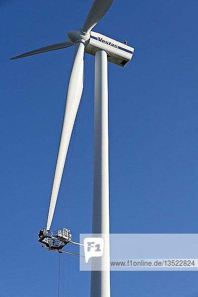 Maintenance platform on a wind turbine  Bavaria  Lohr am Main  Germany  Europe
