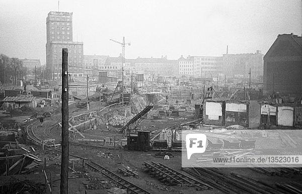 Baustelle  1945  Roßplatz  Leipzig  Sachsen  DDR  Deutschland  Europa