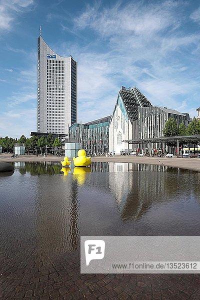 Paulinum der Universität und City-Hochhaus  Augustusplatz  Leipzig  Sachsen  Deutschland  Europa