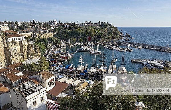 View of the harbor in Kaleici old town  Antalya  Turkish Riviera  Turkey  Asia